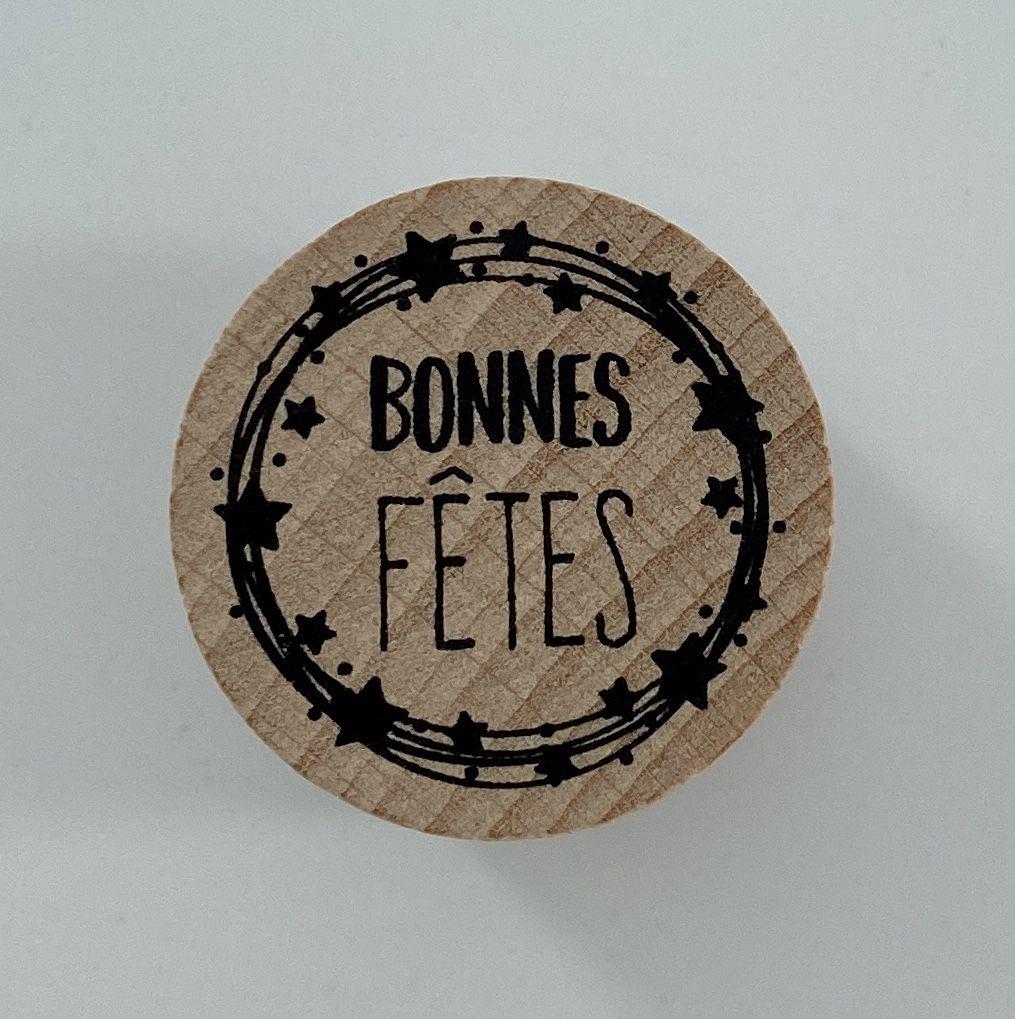 TAMPON BOIS ROND - Bonnes fêtes cercle d\'étoiles
