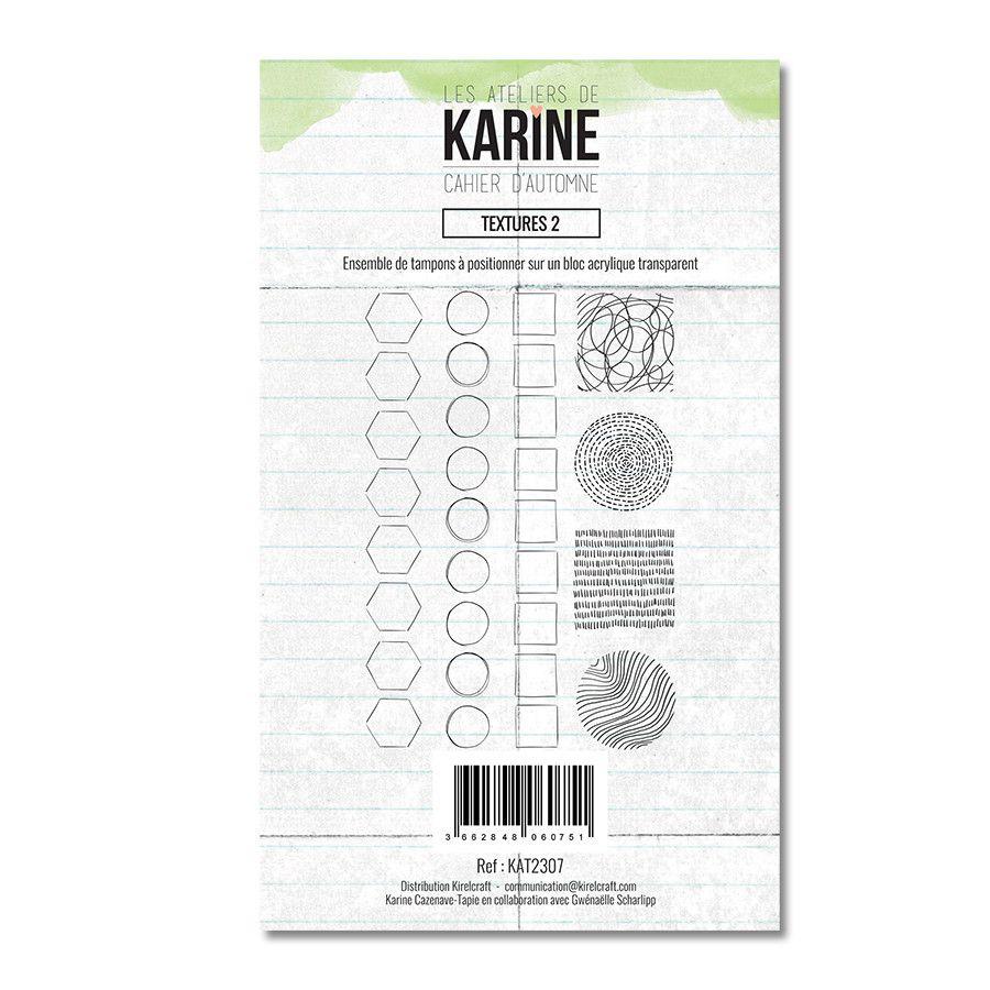 Tampon clear Textures 2 7 motifs- Les Ateliers de Karine