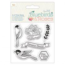 TAMPON TRANSPARENT BLUEBIRDS & ROSES - Birds