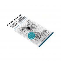 TAMPONS TRANSPARENTS - Papillons et Fleurs